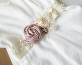 Private Listing Ivory blush Pink Flower Bridal Belt  Wedding Sash