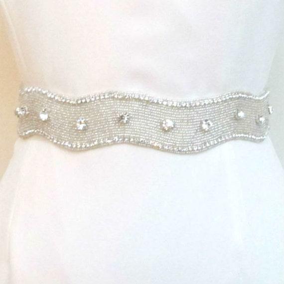 Bridal Rhinestone Belts Beaded Crystal Wedding Sash Belt Bride Belts Sashes Rhinestone Trim Extra Wide Large Rhinestone