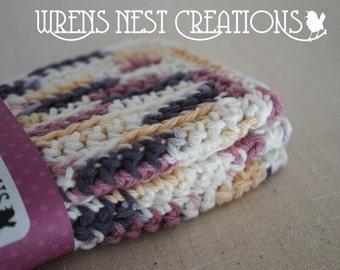 Dish Cloths, Cotton Crochet - Gray, Tan, Rose, Pink