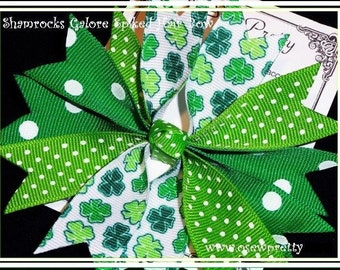 St. Patrick's Day Hair Bows, Irish Hair Bows, Shamrock Hair Bows, Emerald Green Hair bows, Four Leaf Clover Hair bows,