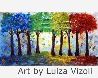 """ORIGINAL 72"""" Abstract Oil Painting on Canvas/SEASONS TREES large canvas /Hand Made painting/ Ready to Ship/ Art by Luiza"""