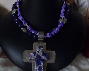 SALE!   Passionate Purple Southwest Two Strand Necklace with Removable Cross Pendant