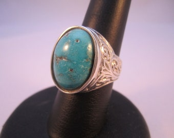 Mans Turquoise  925 silver  one of a kind ring
