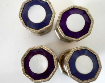 Vintage Cuff Links Enamel and Mother of Pearl Jem Link Button Style pair