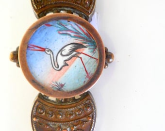 Victorian Brooch Hand Painted Crane on Silk Rare Antique Brooch