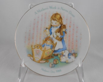 "Vintage 1988 Avon Mother's Day Plate 5"" A Mother's Work is Never Done  Porcelain Plate Home Decor Display Item Dolly in Cradle"