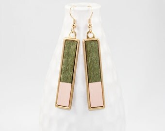 Wooden Dangle Earrings Dipped in Color (Green Veneer & Pale Pink Paint / Brass Rectangle Setting)