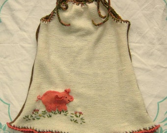 wool knitted jumper with little pig applique