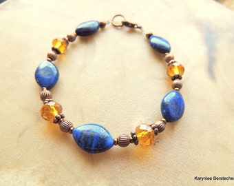 Lapis and Copper Bracelet, Gemstone Jewelry, Blue and Amber, Copper Jewelry, Handcrafted Jewelry, Blue and Copper