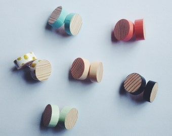 Stud Earrings - Wood Grain  - Available in 6 colours