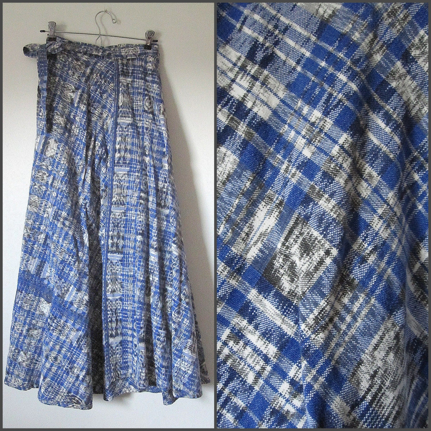 Vintage Japanese Indigo Ikat Fabric Wrap Maxi Long by ...