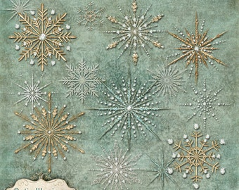 Winter Gems - Snow Flake - Commercial Use - Clip Art - Whimsy Winter Gems - 6 Gems in Three Styles Each - INSTANT DOWNLOAD -3.50