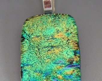 Blue Gold Pendant Dichroic Fused Glass Jewelry w/ cord