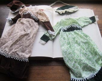 2 Vintage Doll Dresses with Bonnets * 1960's 70's Doll Clothes *Spirit Ghostly * Vtg  Prairie Dresses