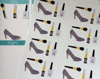 Planner Stickers, High Heel Shoes, Nail Polish, Shown In An Erin Condren Planner, Stickers, Lipstick