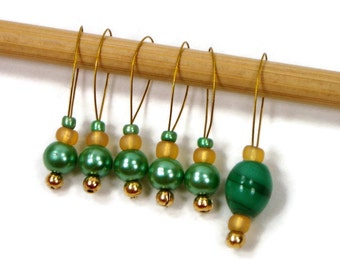 Knitting Stitch Markers Beaded Green Gold Snagless