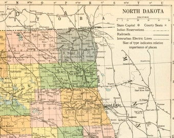 1919 Large Vintage Map of North Dakota - Antique North Dakota Map