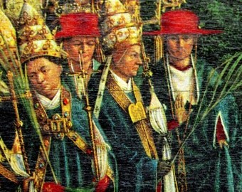 1964 Unusual Vintage Wooden Print of Martyrs. Details from the Ghent Altarpiece by van Eyck