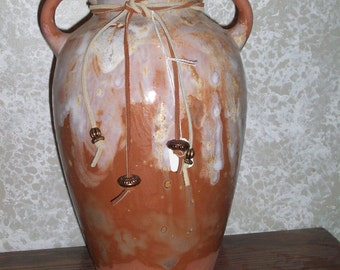 Earth Colored Ceramic Vase with Handles