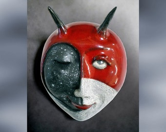 Bad Moon Rising - Mask Sculpture, Moon Pendant, Ceramic Mask, Made to Order