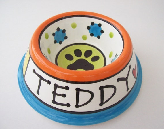 Feed Your Dog in Style - PERSONALIZED Custom Dog Bowl - RAINBOW SMALL