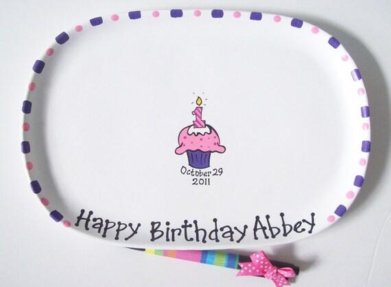 Ceramic Signature Plate for 1st BIRTHDAY CUPCAKE