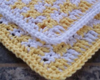 Crochet Cotton Dishcloths, Set of 2,  Yellow GIngham, Square Dishcloth, Kitchen Dishrag, Small Dishcloths, Cottage