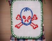 Blue skull embroidered lavender sachet
