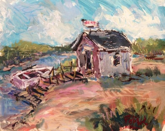 Fishing Shack painting and boat dock, Russ Potak