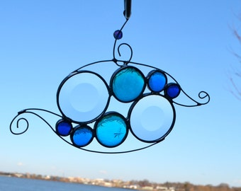 Rolling Waves Stained Glass Suncatcher