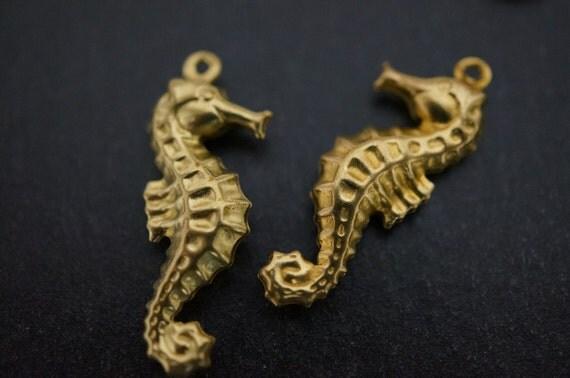 Raw Brass Seahorse Charms - 25mmx10mm - 10 pcs