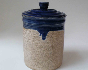 Royal Blue and Oatmeal Handmade Lidded Stoneware Jar, 5 Cup Treat Jar, Kitchen Canister, Gift Ideas for Her, Kitchen and Gourmet