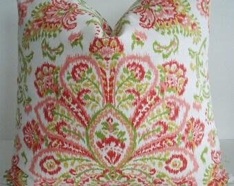 NEW-POPPY IKAT-Decorative Designer Pillow Cover-Poppy/Red/Orange /Coral/Green/Ivory/Light Gold Pilloww