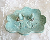 Bridal shower gift, Mint green cloud 9 ring holder, His and Hers monogram ring dish, Wedding gift, engagement gift