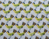 On Sale Hokkoh Tweet Tweet Kawaii Bird Japanese Fabric Natural Lightweight Canvas 1/2 Yard