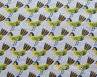 Hokkoh Tweet Tweet Kawaii Bird Japanese Fabric Natural Lightweight Canvas 1/2 Yard