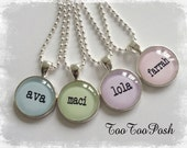 Personalized Glass Necklace YOU CHOOSE COLOR