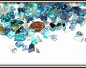 Caribbean Blue Mix-Small Glass nuggets-Fairy Garden Paths-Recycled Glass-Sparkle glass-mirror glass-Choose a small bag or a cup