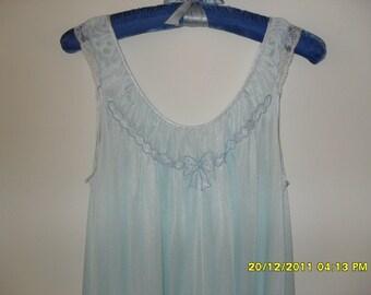 Vintage 70s Long Nightgown Pale Blue, Size Medium
