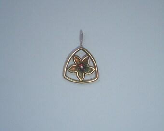 Tiny flower pendant sterling silver gold wash garnet stone stamped TK 925