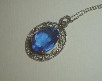 Silver pendant sterling filigree with blue sapphire stone full hallmark vintage