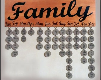 Copper Family Birthday Sign/ Black Lettering