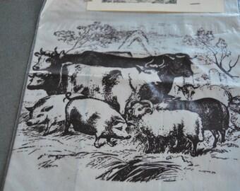 Silk Screen Print of Barnyard Animals Muslin Quilt Block