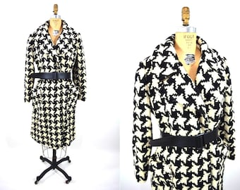 1960s coat vintage 60s black and white houndstooth mod open wool coat S/M