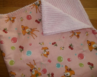 Baby Girl Blanket ~ Deer Baby Blanket ~ Pink Chenille Baby Blanket ~  Baby Quilt ~ Kawaii ~ Woodland Deer