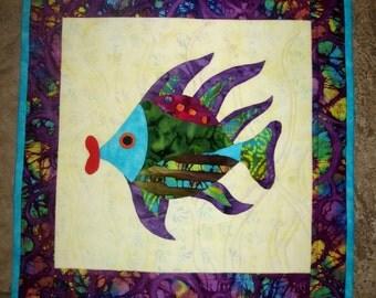 Wall Hanging Fish Quilt Art Applique Fish Lips Batik Aqua Purple Green Red