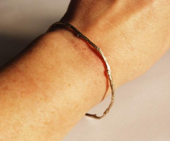 Tompkins Square Park Solid Gold Twig Bangle Bracelet