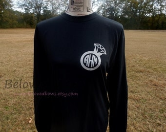 Womans Large Glitter Monogrammed Diamond Ring TShirt--Heat Press--Wedding-Engagement-Bridal Party