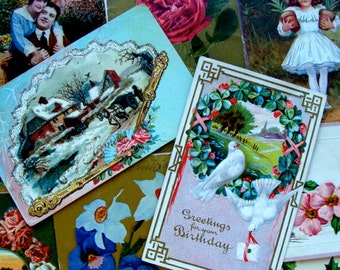 10 Gorgeous Antique Victorian Hand written 100 year old Post Card Lot N0 144 Post Cards