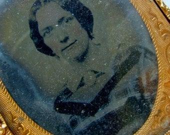 Antique Daguerreotype Tin Type Photo with Glass
